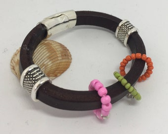 Stunning dark brown leather bangle or cuff bracelet with silver and glass beads