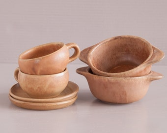 Stoneware breakfast set | Stoneware bowls and cups | French Farmhouse style | French Country Kitchen | Unglazed Stoneware | Vintage Pottery