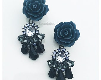 """Dangle rose black gray clear crystal pair SINGLE FLARE plugs for gauged or stretched ears: Sizes 4g, 2g, 1g, 0g, 00g, 7/16"""", 1/2"""""""