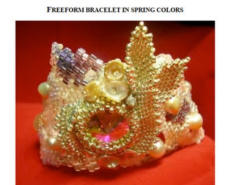 "TUTORIAL - freeform brickstitch bracelet with embellished rivoli bezel and ""russian leaves"""