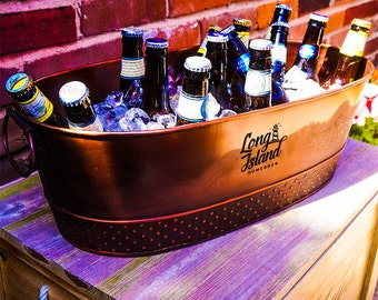 Monogrammed Copper Finish Galvanized Beverage Tub Gift for Weddings, Parties, Shower, Birthdays, Housewarming, Anniversary