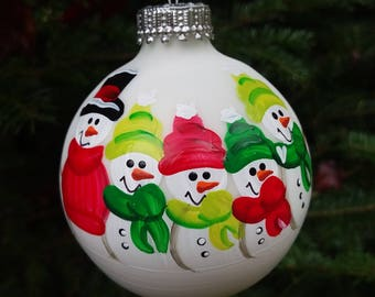 Family of 5 Personalized Snowman Christmas Ornament Handpainted Gift