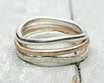 Three-piece Ringset 925 silver and 333 pink gold, Matt, 925 sterling silver, textured, polished, organic shape, collection rings, 2 mm,