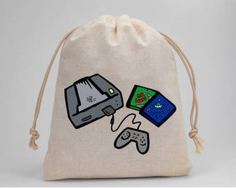 Video Games Party Bags, Video Games, Treat Bags, Goodie Bags, Muslin Bags, Fabric Bags, Drawstring Bags, Birthday Party, Candy Bag