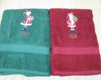 HIS and HERS Set - Santa Claus and Mrs. Santa Claus Red and Green Terry Cloth Bath Towels