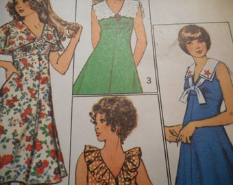 Vintage 1970's Simplicity 9863 Dress with Collar Interest Sewing Pattern Size 12 Bust 34