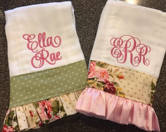 Personalized Burp Cloths for Girls-Set of 2, burp cloths for girls, monogrammed burp cloths, burp cloths with ruffle