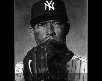 portrait drawing of Mariano Rivera (matted print)