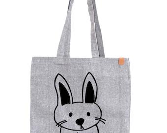 Woodland Tale Tote Bag - 100% Eco Cotton, Bear, Fox, Hedgehog, Rabbit, Panda, Walrus, Momlife, Woodlandtale, Monochrome, Grey, Shopper Bag,