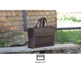 Leather Bag B042, Leather Tote, Briefcase Women, Womens Leather Briefcase, Leather Satchel, Leather Brief Case, Messenger Bag, Handmade Tote