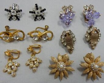 Lot of 6 pr Vintage Rhinestone Clip and Screw Back Earrings WEISS & B. DAVID