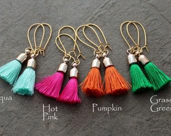 Silk Tassel Earrings - Boho Earrings - Pink Tassel Earrings - Aqua Tassel Earrings - Green Tassel Earrings - Global Inspired Earrings