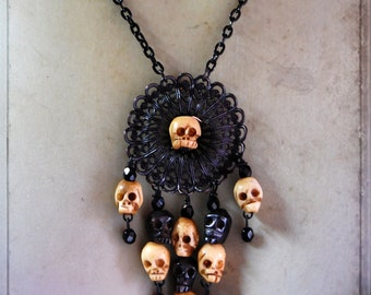 skull necklace - Headhunter - gothic skull necklace, woodoo skull necklace, woodoo necklace, bone necklace