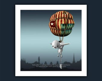 BalloonBot Limited Edition Print, Hot air balloon, Robot, from the street art children's book - The AlphaBots, steampunk, Balloon