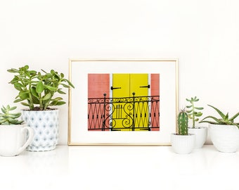 Pink House Print New Orleans French Quarter Photography NOLa Art Pink House Photography Pink Decor Colorful Wall Art Yellow Art 8x10 Print
