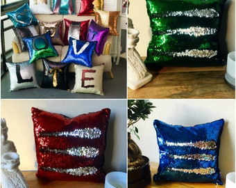 MERMAID SEQUIN Cushion Cover - Pillow Case Reversable Flip Sequins Sofa 38x38cm