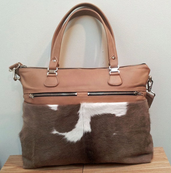 Cowhide leather handbag, in tan and grey made with New Zealand cowhide