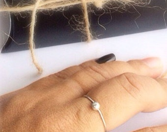 Stacking Silver Sphere Ring . Argentium Sterling Silver. Eco Friendly Beauty.