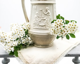 Antique English salt glaze parian water pitcher, raised decoration with mythological scenes, late 1800's, vintage water jug, antique pitcher
