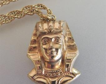 Vintage 12K GF King Tut Pendant Necklace | 1970s Egyptian King Tut Pendant | Designer Winard Jewelry | King Tut Jewelry Jewellery