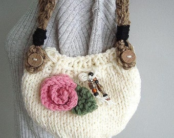 KNIT Handbag purse - Knitting PATTERN - Easy to make knit bag, handle instructions included, knit flower included #646B