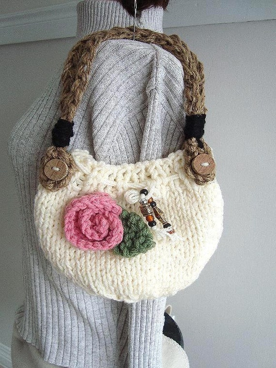KNIT Handbag purse, Knitting PATTERN, Easy to make knit bag, handle ...