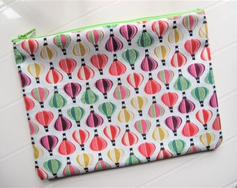 Colored Pouch Makeup organizer or Cosmetic case with Balloons