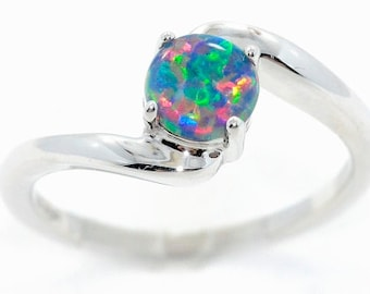 Black Opal Round Ring .925 Sterling Silver Rhodium Finish