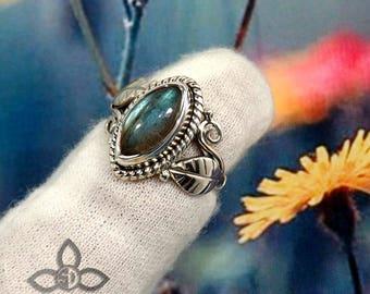 Labradorite Ring, Labradorite  Gemstone, Labradorite Designer Ring, Women Designer Ring, Sterling Silver Ring, 925 Silver Ring, Fine Silver