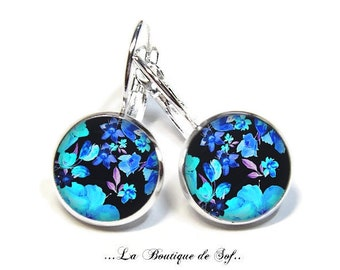 925 Sterling Silver: Stud Earrings with glass cabochons * flowers * (090218.6) 3 sizes