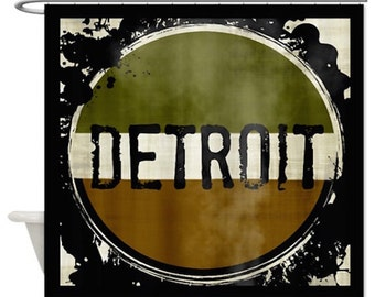 READY To SHIP DETROIT Shower Curtain