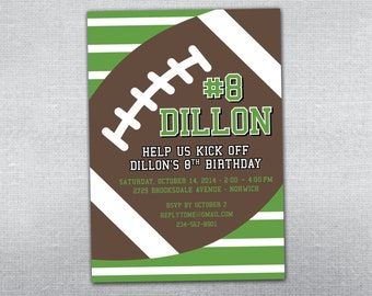 Football birthday invitation. Football party. Football invitation.