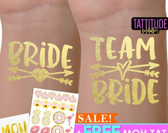 Team Bride Tattoos | bachelorette party tattoo, metallic temporary tattoo, gold foil tattoo, bridesmaid gifts, gold tattoo, favor team bride
