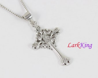 Sterling silver cross necklace, cross heart necklace, unique cross pendant, catholic cross, christian necklace, girls cross necklace, NE8236
