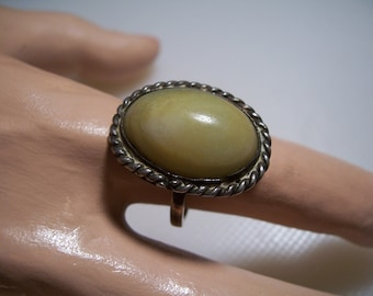 Vintage Yellow Turquoise Sterling Silver Ring