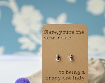 Cat lady earrings