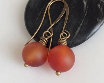 Carnelian Earrings  Orange Gemstone Earrings  Boho Earrings