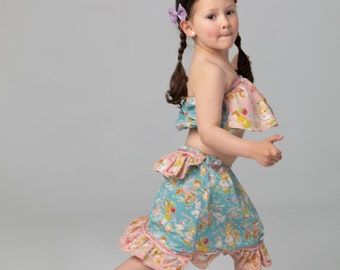 Top and long skirt for girl, Japanese fabric 100% cotton