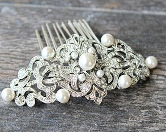 Bridal Hair Comb Bridal Pearl Crystal Hair Comb Swarovski Crystal Pearl Wedding Hair Comb JANE Diamante Edwardian Comb Bridal Victorian Comb