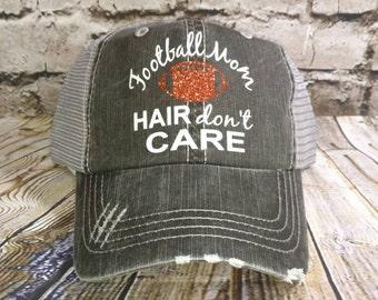 Football hat, Personalized Trucker Hat, monogrammed hat, distressed trucker hat, vinyl monogrammed hat, football mom, football cap