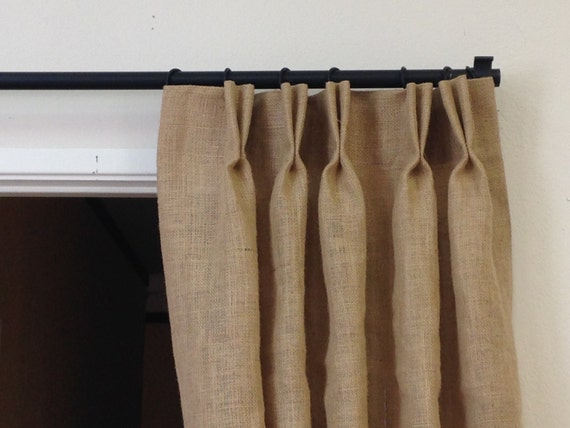 """Pinch Pleat Drapes: Items Similar To 96"""" Burlap Pinch Pleat Curtains, Neutral"""