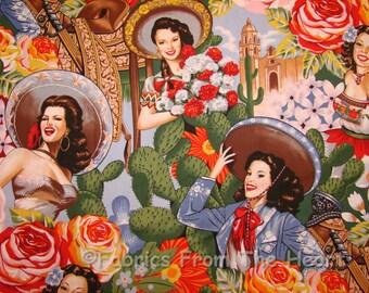 Las Senoritas Pin Up Sexy Girls Cactus on Blue Alexander Henry Cotton Fabric
