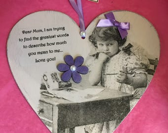 Mother's Day message in a heart - wood- 20cm 3 varieties