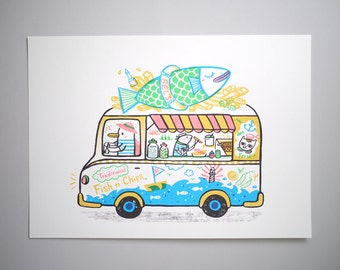 Fish N' Chips Van - A3 Original limited edition silk screen print