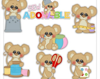 Sew Adorable Mouse 1 Clipart (Digital Zip Download)