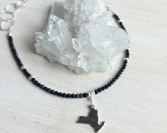 New York Charm Bracelet, New York Charm, New York, Gemstone Bracelet, Sterling Bracelet, Black Spinel Gemstones