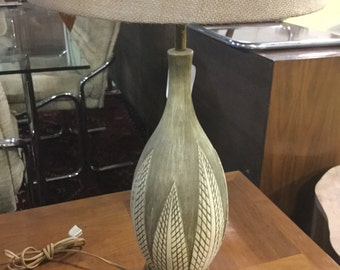 Mid Century Ceramic Lamp on a brass base with New Shade