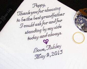 Grandfather, Grand Dad, Poppy, Pops, Grand Daddy of the Bride Handkerchief Wedding Day Keepsake - Thread Born Memories