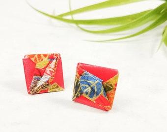 Boucles d'oreilles rouge | Bijou en papier  | Boucles d'oreilles puces | Origami par Ökibo
