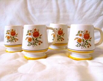 Vintage 70s Set of Four Orange Flowered Pedestal Mugs, Made in Japan